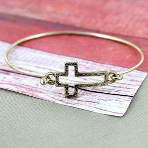 Jewelry - CRAVE GOLDTONE OPEN CROSS BANGLE